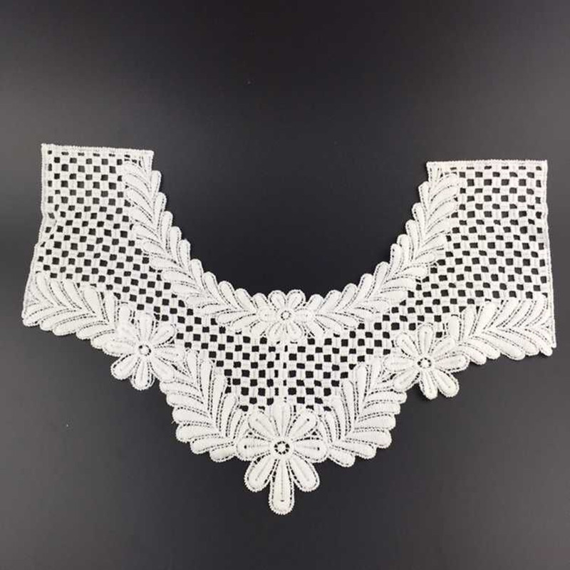 Phenovo Crochet Lace Embroidered Flower Neckline Collar Sewing Trim Applique