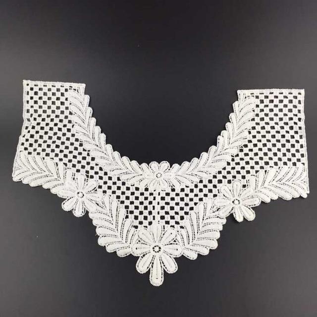 New Hot Sale White Flower Embroidered Neckline Crochet Collar Cotton