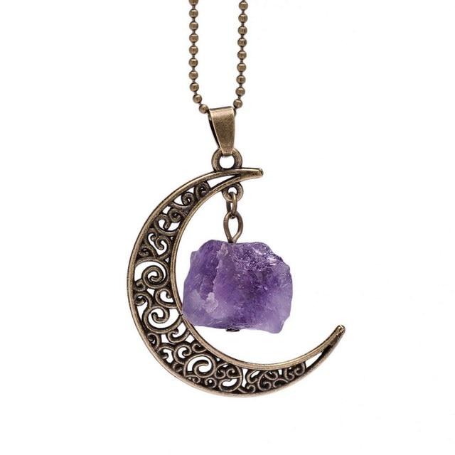 Galaxy luna media luna de cristal de bronce antiguo de la vendimia galaxy luna media luna de cristal de bronce antiguo de la vendimia prpura collar de colgantes aloadofball Gallery