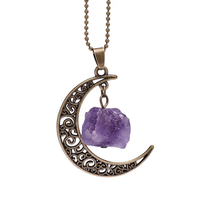 Vintage Galaxy Moon Crystal Crescent Ancient Bronze Purple