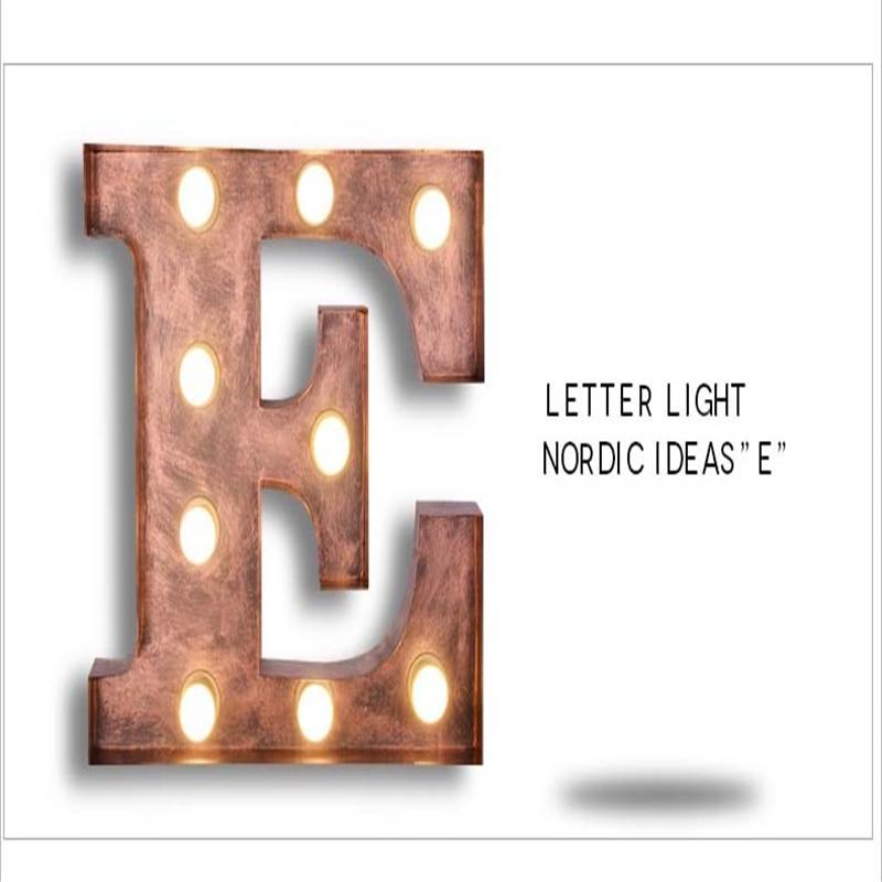 SGROW Metal Letter E Wall Lamp Light for Bedroom Living Room Art Lampara Industrial Creative Lights Logo E Iron Billboard Lamps