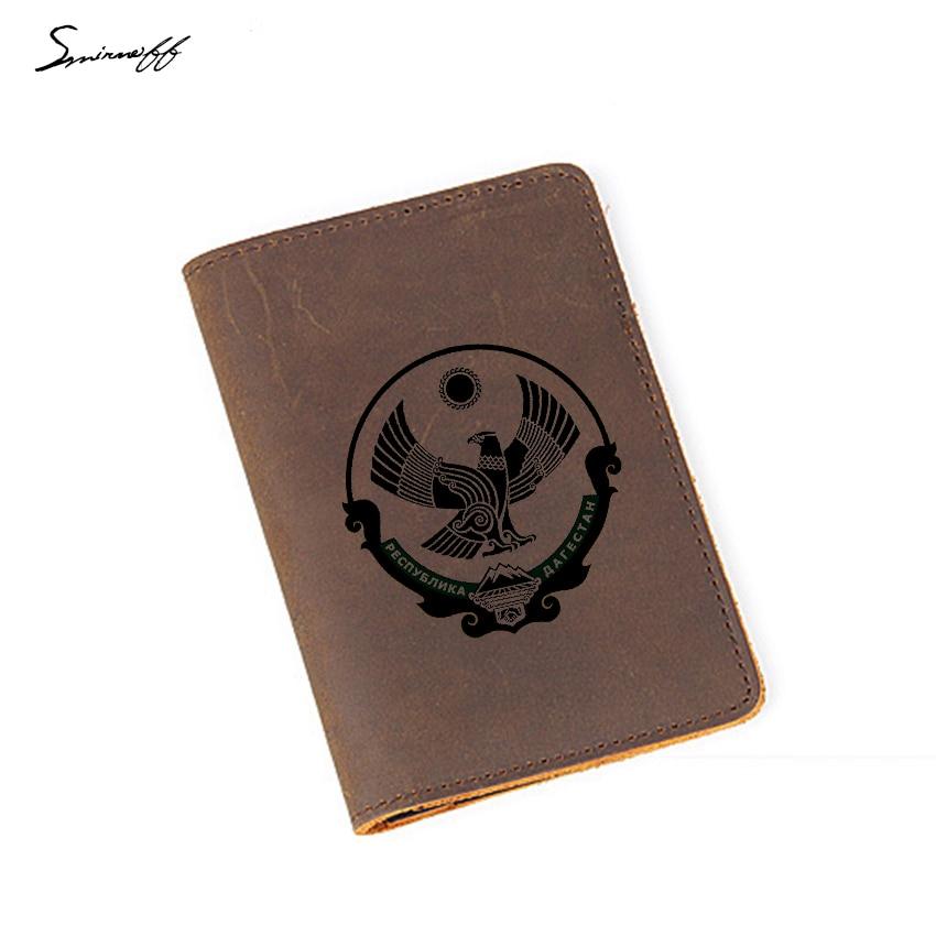 Capa de Passaporte Organizador de Cartão de Viagem Masculina de Couro Titular de Cartão de Crédito Gravado Daguestão Carteira Genuíno Feminino