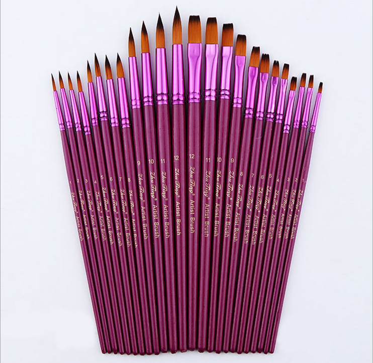 12pcs/lot Different Size Artist Fine Nylon Hair Paint Brush Set For Watercolor Acrylic Oil Painting Brushes Drawing Art Supplie