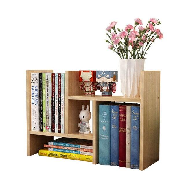 Portable Table Shelf Wood Bookcase Desktop Bookshelf Modern Office Book Storage Rack