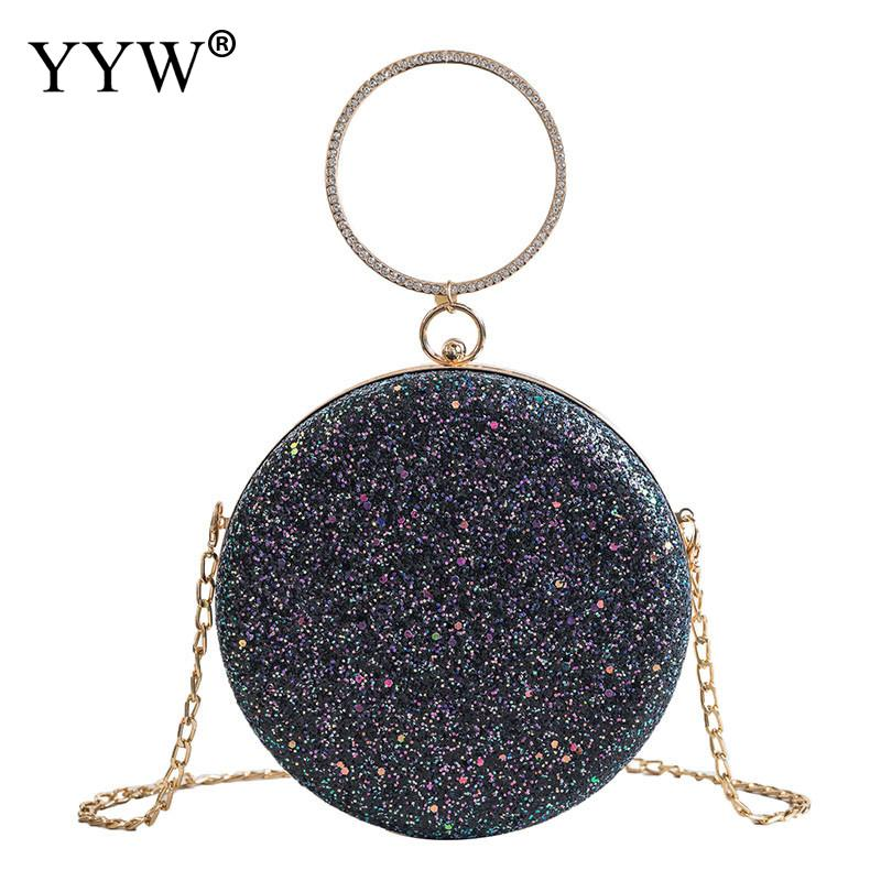 YYW Clutch Pink Gillter Handbag Wedding Evening Women Clutch Round Bag Circular Ring Purses Handbags Crossbody Party Metal Bags in Top Handle Bags from Luggage Bags