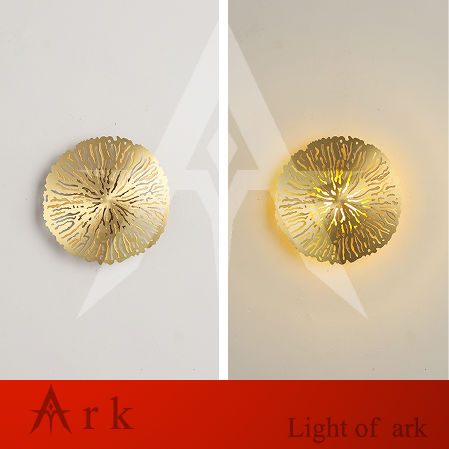 creative Postmodern minimalist copper wall lamp Nordic bedroom bedside living room decoration personality wall light
