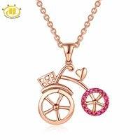 Hutang крошечные велосипедные кулон, розовое золото натуральный Драгоценный Рубин Алмазный Твердый 18 K 750 Тонкий Модный камень ювелирные издел