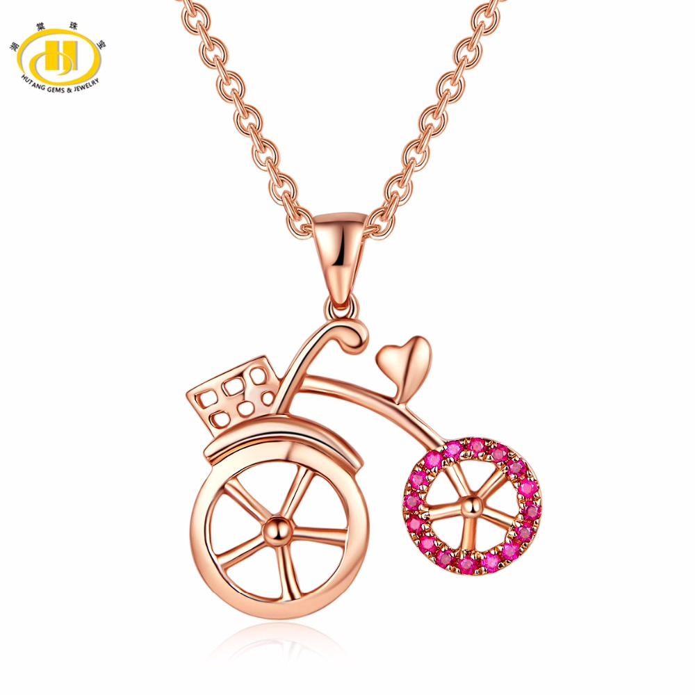 Hutang Tiny Bicycle Rose Gold Pendant Natural Gemstone Ruby Diamond Solid 18K 750 Fine Fashion Stone Jewelry For Women Gift New Hutang Tiny Bicycle Rose Gold Pendant Natural Gemstone Ruby Diamond Solid 18K 750 Fine Fashion Stone Jewelry For Women Gift New
