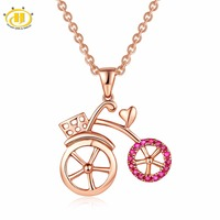 Hutang Tiny Bicycle Rose Gold Pendant Natural Gemstone Ruby Diamond Solid 18K 750 Fine Fashion Stone Jewelry For Women Gift New