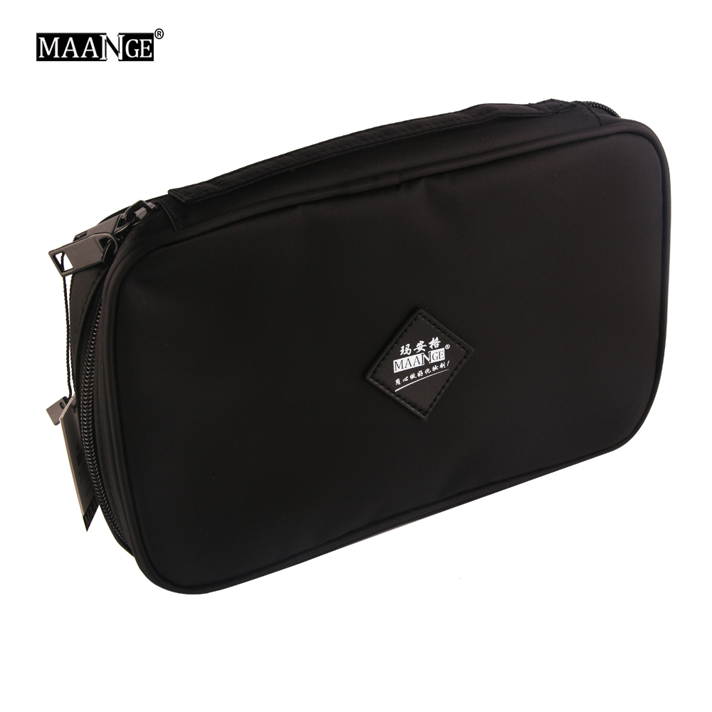 Professional Cosmetic Makeup Brush Bag Portable Brushes Holder Canvas Case Beauty Brush Bag With Zipper Big Small Pockets