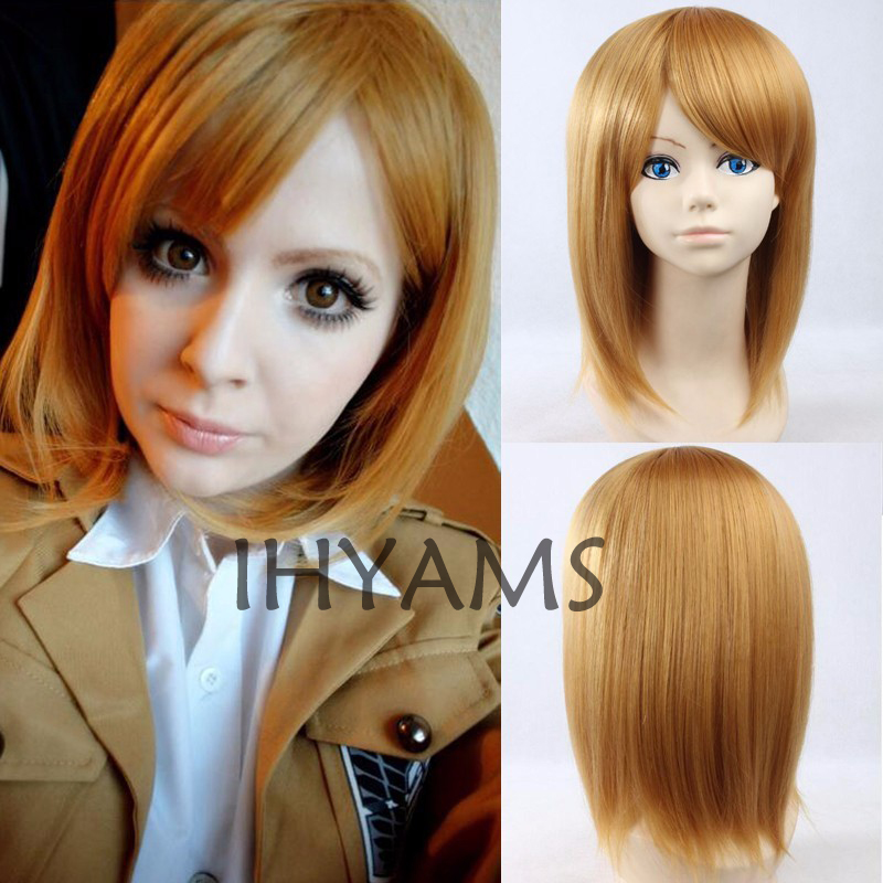 Attack on Titan Shingeki no Kyojin Ral Petra Rall Cosplay Wig Heat Resistant Blonde Anime Cosplay Wig Party Wigs  + Wig Cap