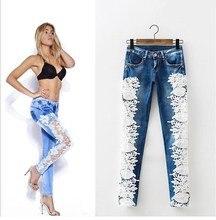 Women Pencil Denim Jeans Trousers Slim Patchwork Pants Female Lace Casual Jeans