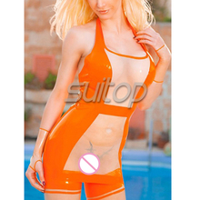 transparent latex shirt with long stocking in orange and clear latex