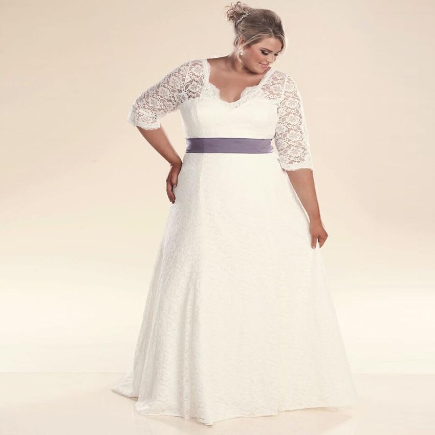 ADLN Hot Wedding Dresses Three Quarter Sleeve Lace Vestidos de Novia Beaded Bridal Gown Plus Size
