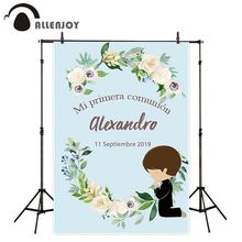 Allenjoy Holy Communion decoration photography background blue boy flower custom backdrop photo studio photophone photocall