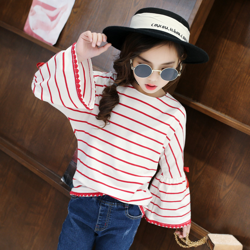 825b05f8f0 Children's T shirt Spring Girls Cotton Tee School Wear Long Sleeved Red  Striped T shirt with Flare Sleeve Girls Fashion Clothes-in Tees from Mother  & Kids ...