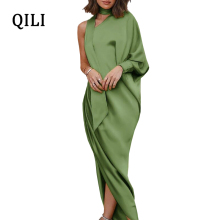 QILI New Arrivals One-shoulder Dress Long Sleeve Scarf neck Elegant Women Party Robe Indian Saree Style Female