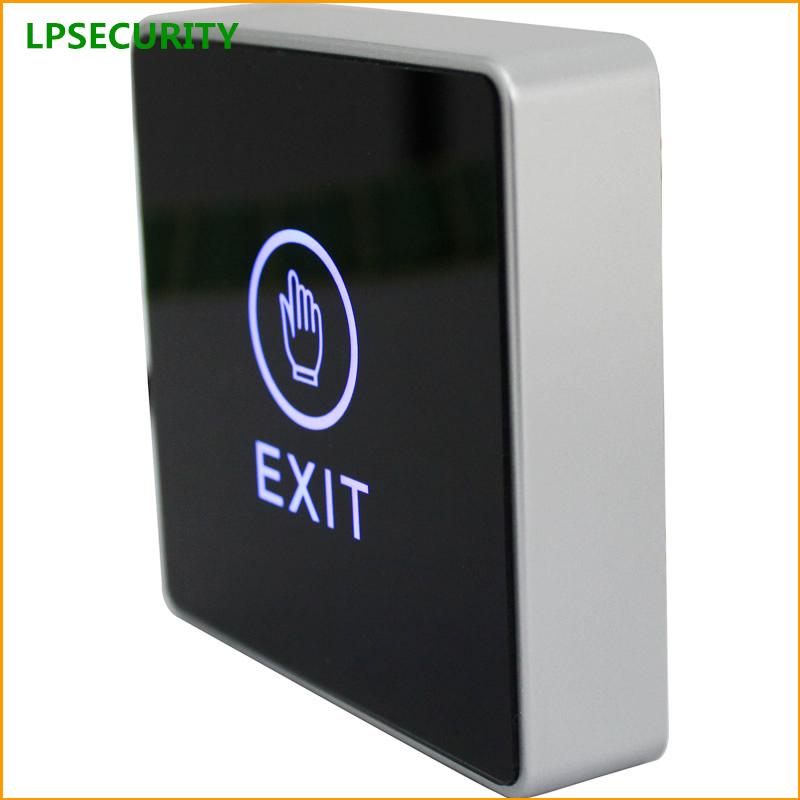 LPSECURITY Backlight LED Touch Exit Button Wall Mount Exit Button Push Door Release Exit Button Switch For Access Control System lpsecurity stainless steel door access control led backlit led illuminated push button door lock release exit button switch