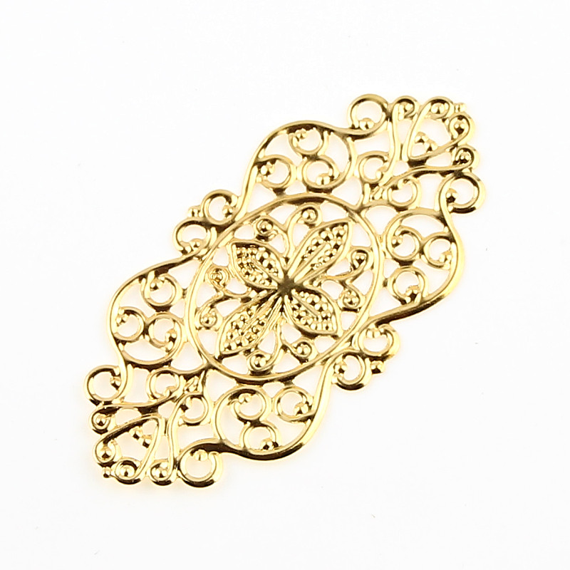 Листья филигранные обертки 25 шт. золотые металлические разъемы ремесла 57x18 мм фотоаксессуары подвеска