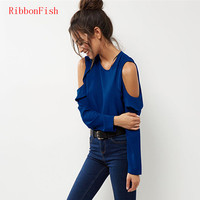 2017 Women Summer Chiffon Blouses Shirts Lady Girls Casual Off Shoulder Long Sleeve Ruffles O Neck