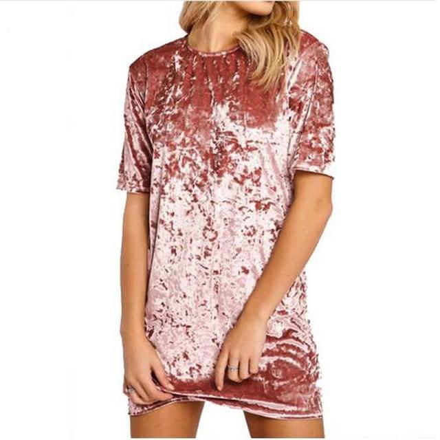Summer Velvet T-Shirt Dress Vestidos 2017 New Women Short Sleeve Loose Long Tee Top Fashion T Shirt Female Camisetas Mujer