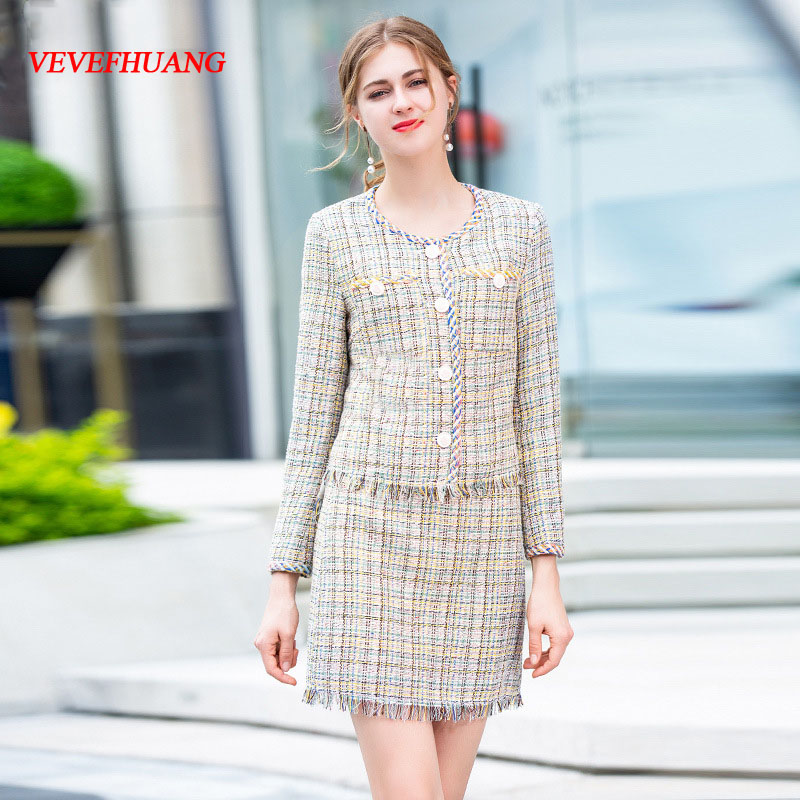 VEVEFHUANG 2018 Autumn New Fashion Two Piece Set Women's Long Sleeve Vintage Single Breasted Coat Jacket+ Mini Skirt Elegant Set