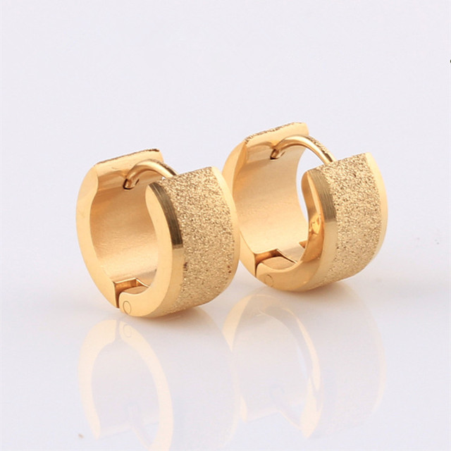 Fashion Frosted Gold Huggie Earrings Hot Stainless Steel Sand Surface Silver Black Small Hoop Jewelry