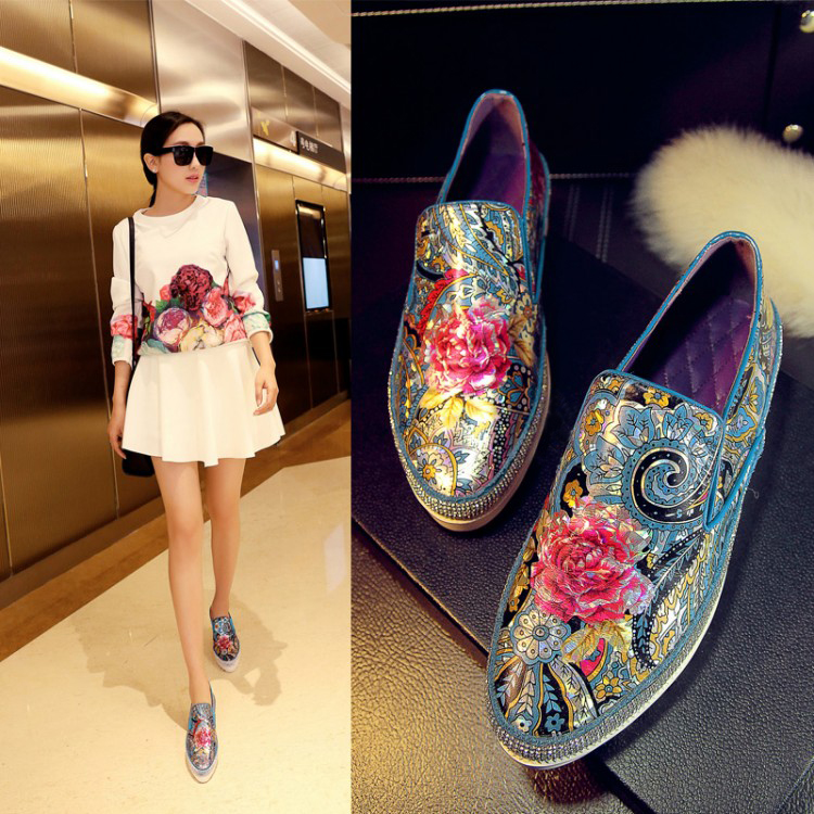 Spring lady Casual Shoes flatform heel printing flower and crystal cozy Loafer round toe slip on concise rhinestone Shoes Women