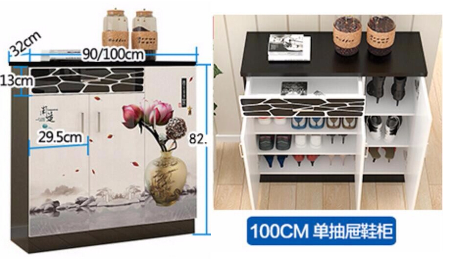 100*82*32CM Wood Shoe Cabinet Modern Door Cabinet Shoe Storage Box Simple Shoe Rack