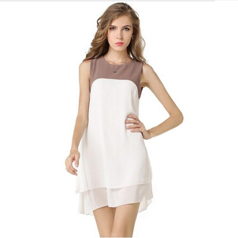 2019 Nové ženy příležitostné léto dvoupodlažní elegantní jednodílné šaty kontrastní polyesterové šaty horký výprodej