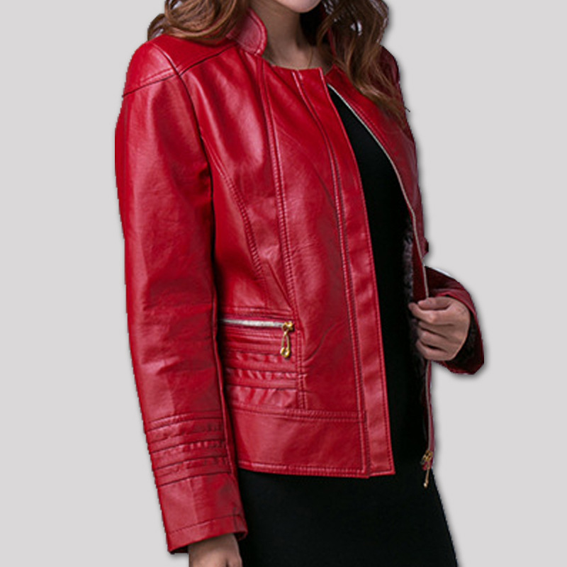 Compare Prices on Faux Red Leather Jacket Women- Online Shopping