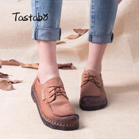 Tastabo Autumn Moccasins For Women Genuine Leather Shoes Flats Footwear Casual lace round toe Retro Shoes Large Size Shoe Women