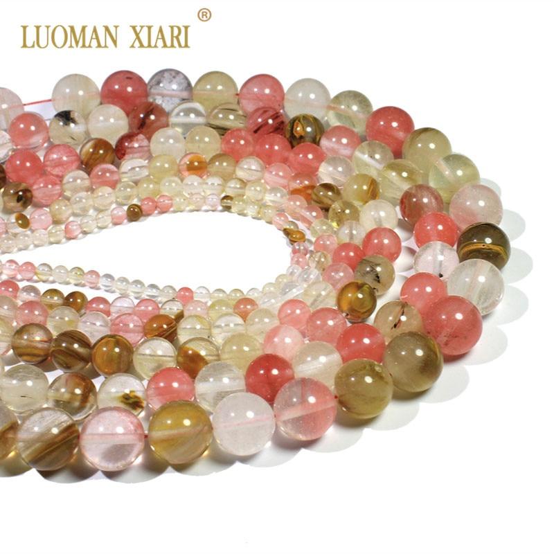 Sandía redonda Redondo Natural Perlas de Cristal Mezclado Granos de Piedra Para La Joyería Que Hace DIY Pulsera Collar 4/6/8 / 10mm Strand 15 ''