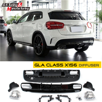 Mercedes GLA X156 Rear Diffuser with 4 Outlet Exhaust Tips For Benz GLA with GLA45 Package Sport Edition 2014 2016