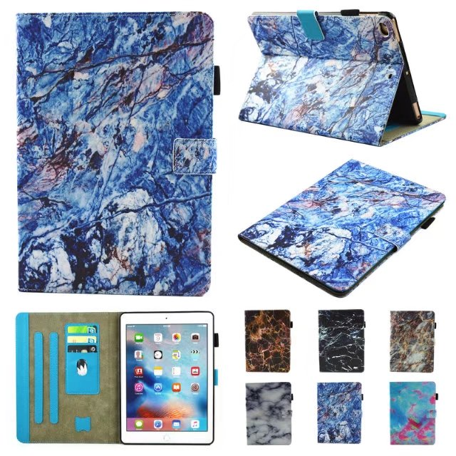 Marble Pattern For Apple New iPad 9.7 2017 A1822 1823 Smart Cover For iPad56 Air Air2Funda Tablet  Leather Flip Stand Shell+Pen