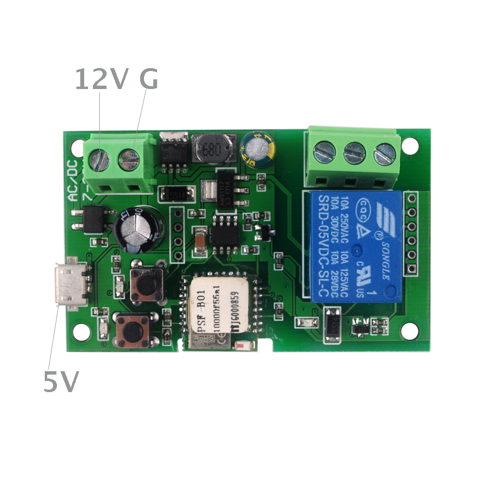 1 Channel Wifi Wireless Smart Switch Relay Module Inching Self-locking 5V 12V for Smart Home,Works perfectly with AMAZON Alexa Google Home