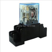 цена на LY2NJ JQX-13F 12v 24v 110V 220v 10a relay switch electronic micro mini relays with socket base holder