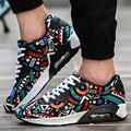 Los hombres Zapatos Casuales Zapatos de Deporte de Malla de Aire Respirable Entrenadores Cesta de Ocio de la Lona Zapatillas Para Caminar Unisex Plana Impresa Color Mezclado Rojo