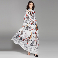 Europe Style 2017 Spring Summer Newest Chalaza Stand Neck Full Sleeve Cat And Letter Print Eleant