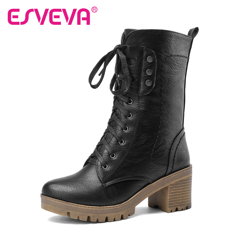 ESVEVA Square High-Heels Motorcycle Boots Lace-Up Round Toe PU Rivets Solid  Ankle Boots Winter Women Boots Size 34-43 6cm vinlle women boot square low heel pu leather rivets zipper solid ankle boots western style round lady motorcycle boot size 34 43