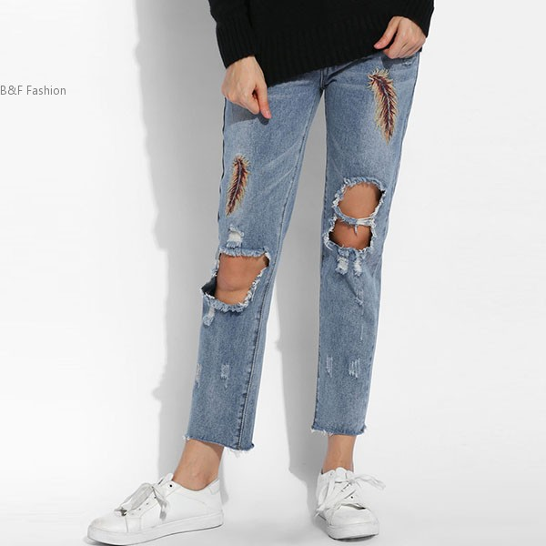 New Women Fashion Slim Feather Embroidery Casual Holes Skinny Pencil Jeans
