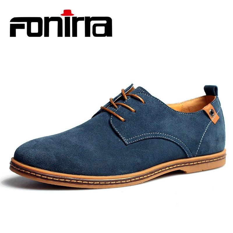 FONIRRA 2019 nouveaux hommes en cuir véritable chaussures décontractées hommes printemps automne chaussures pour hommes à lacets hommes solides plats avec chaussures 046