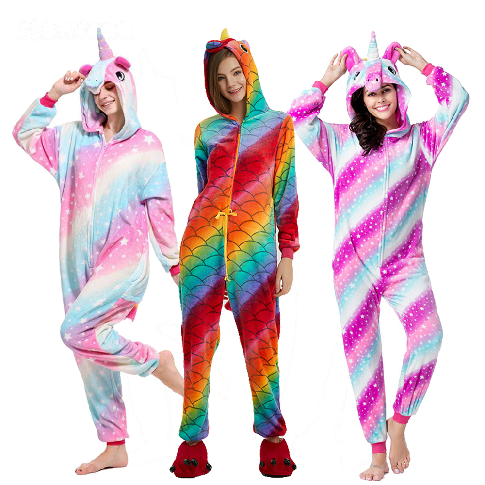 Winter Unicorn   Pajamas     Sets   Cartoon Sleepwear For Adult Women Pijama Flannel Animal Stitch Licorne   Pajama   Kigurumi Pyjamas Women