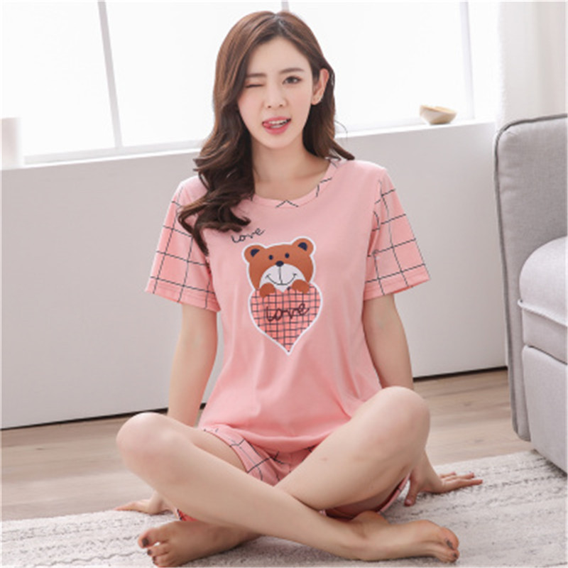 2019 Pajamas for Women Pajama Sets Summer Short Sleeve Thin Print Cute Sleepwear Big Girl Pijamas Mujer Leisure Student Pajama