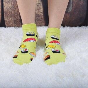 Image 5 - SANZETTI 12 זוגות\חבילה נשים שמח מסורק כותנה אופנה המפלגה מקרית גרבי פירות דפוס מצחיק Harajuku באיכות גבוהה גרביים קצרים