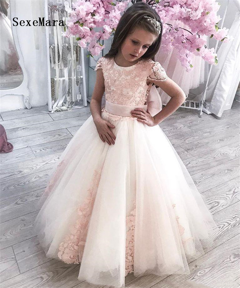 New Pink Lace Applique Puffy Flower Girl Dress for Wedding O Neck Ball Gown Kids Birthday Dress Pageant Gown Custom Made Size
