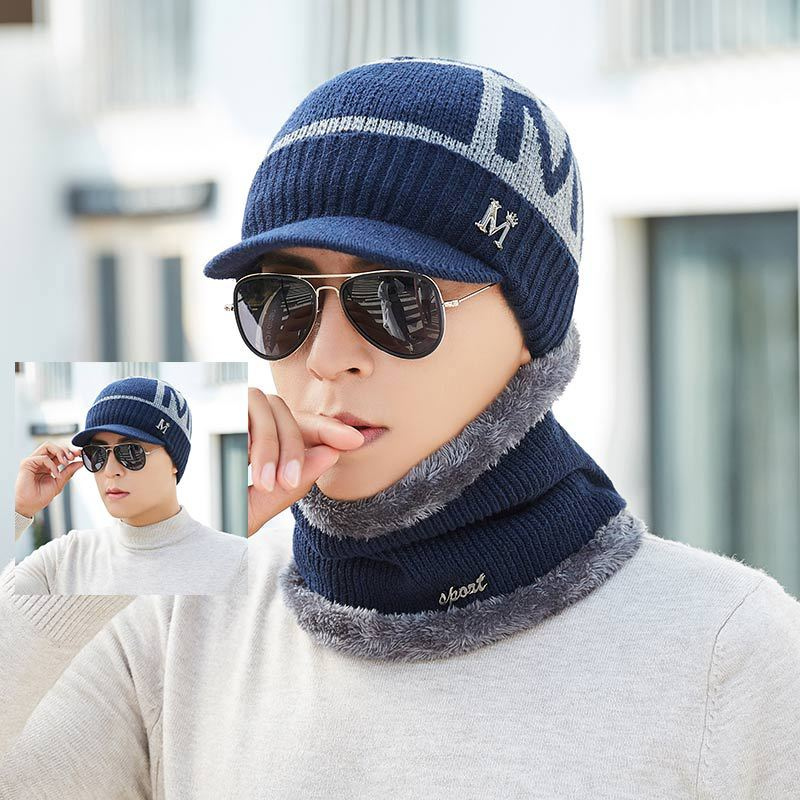 Little Letter M Winter Hat And Scarf Set Men Thicken Cotton Skullies Beains Warm Hat Ring Scarf Female Hats 2019