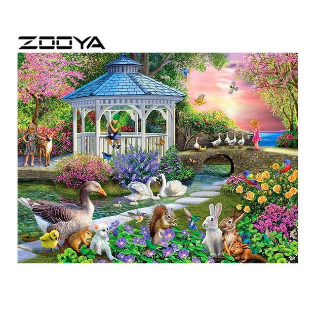 zooya 5d diy diamond embroidery garden view diamond painting cross stitch square round rhinestone mosaic - Embroidery Garden