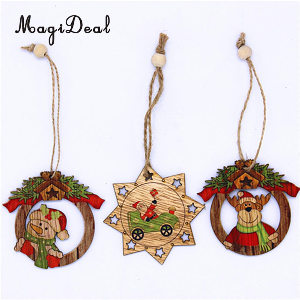 Christmas Wooden Ornaments - Magideal 3pcs set wood christmas tree decoration xmas hanging snowman deer ornament christmas party decor