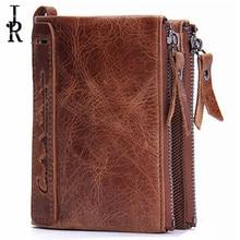 Brand Double Zipper Men Wallets Vintage Genuine Leather Cultch luxury designer Wallets Large Capacity Men's Wallet Male Purse